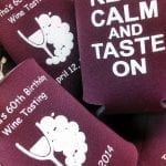 Burgundy keep calm and taste on wine tasting koozie