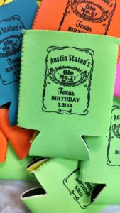 Label Birthday koozie