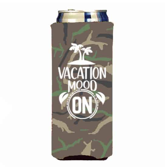slim can koozie camo with white ink.