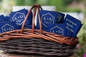 wedding koozies in basket