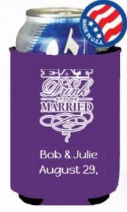 Eat drink wedding koozie