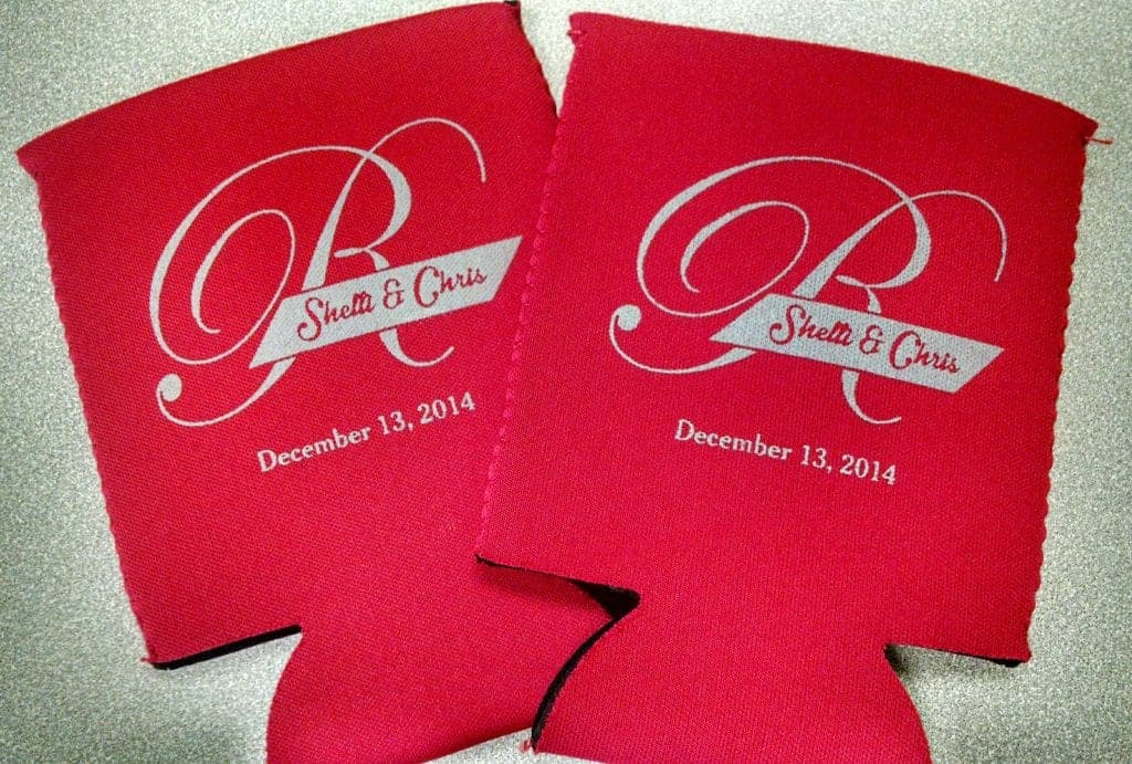 Red monogram neoprene wedding koozie