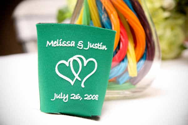 Green heart wedding koozie