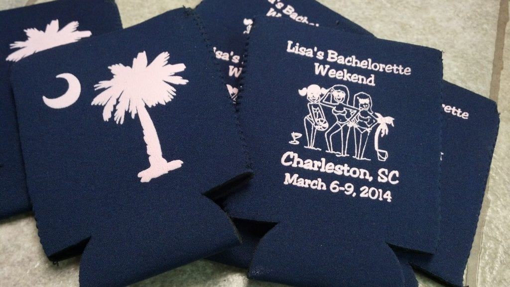 Navy blue bachelorette weekend koozie