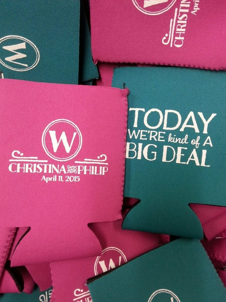 Today we're kind of a big deal wedding koozies