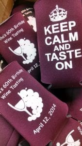 keep calm and taste on wine party coolie