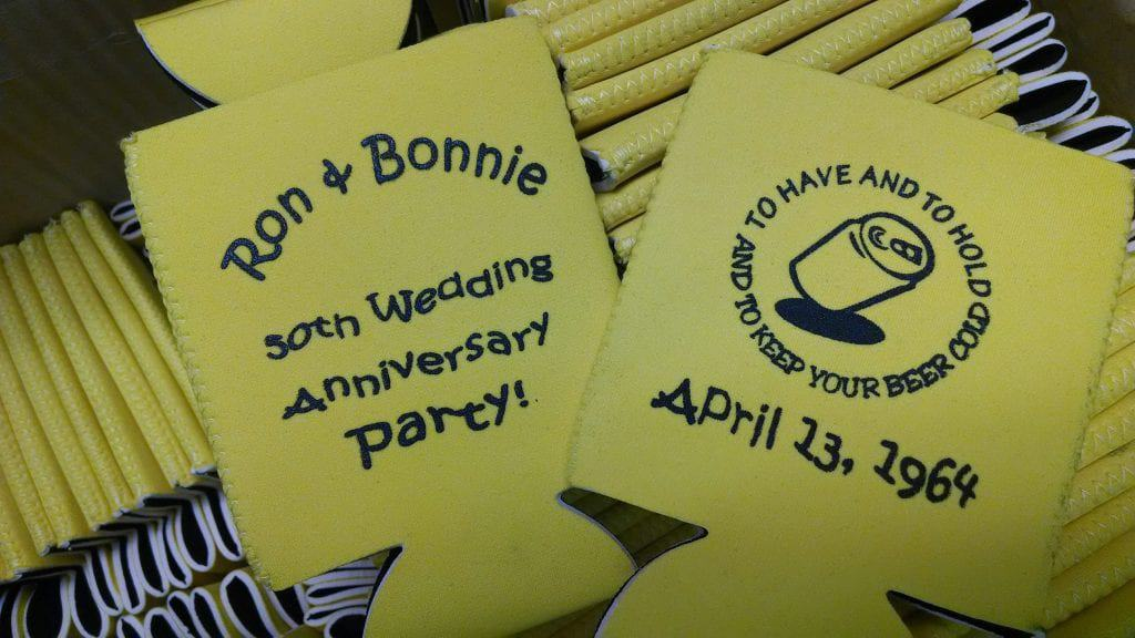 Wedding anniversary yellow koozies