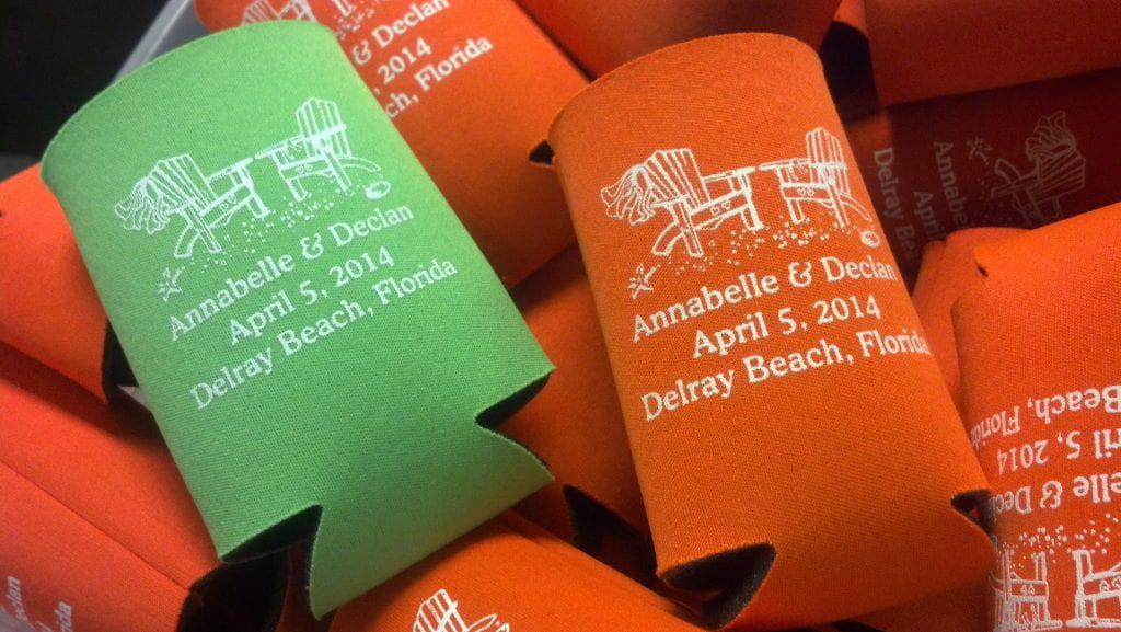 Beach chairs wedding stubby holder delray beach