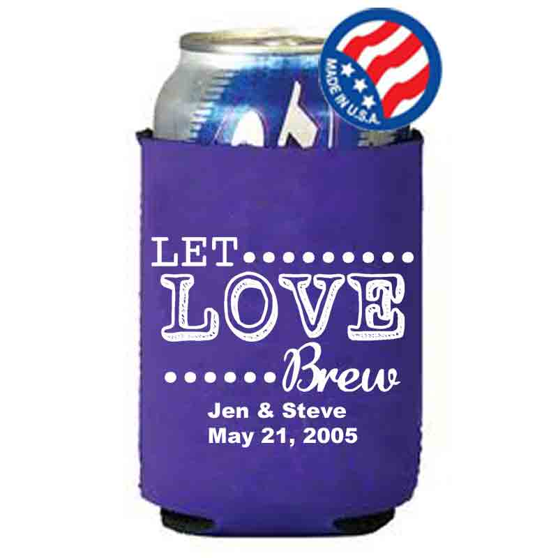 Let love brew purple wedding koozies