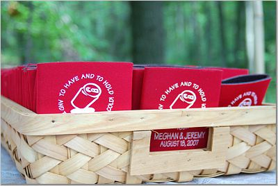 mountain wedding koozies in a basket
