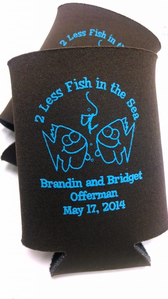 2 less fish in the sea black wedding koozies
