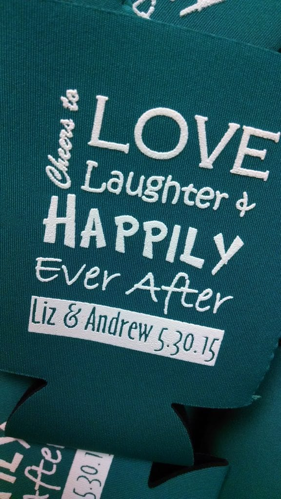 Love Laughter, happily after wedding koozies