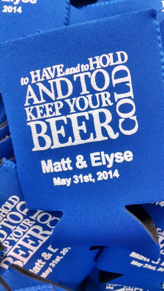 Have and hold hearts beer wedding Koozie