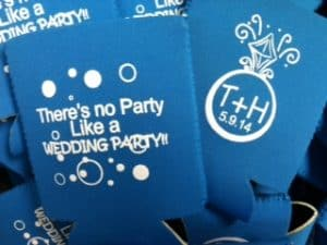 Wedding bubbles, ring, wedding koozies
