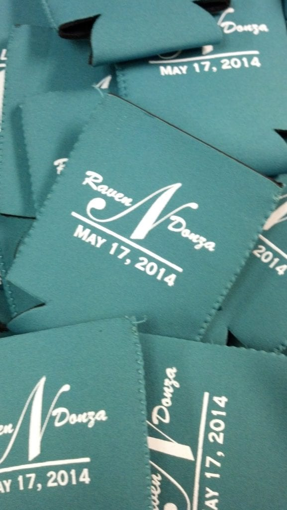 Green neoprene monogram koozies