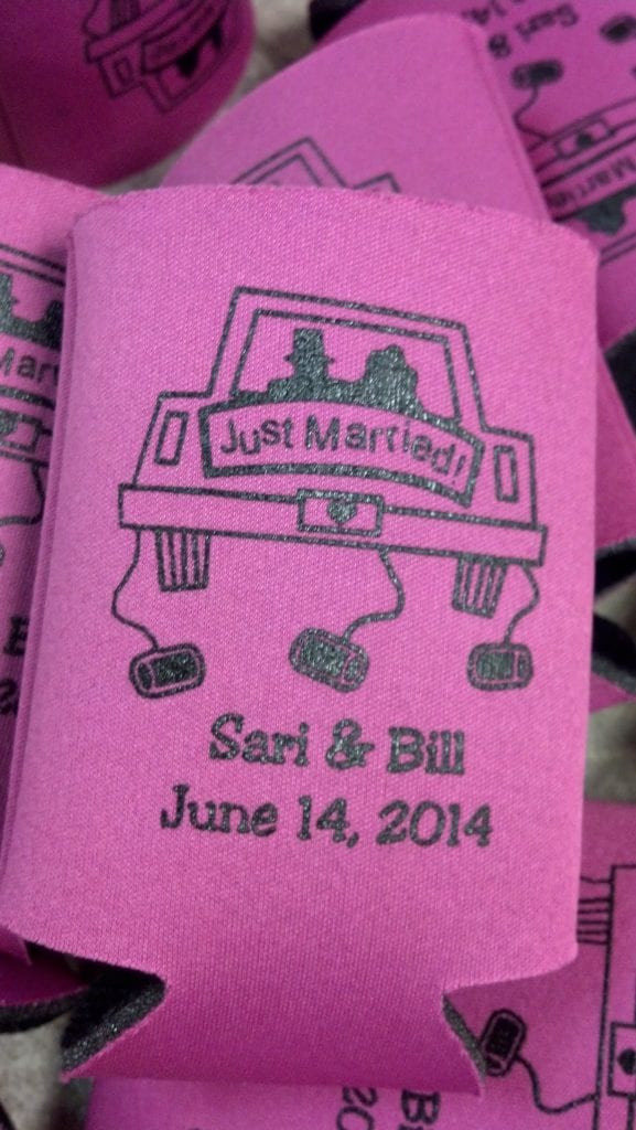 Just married car, wedding koozie