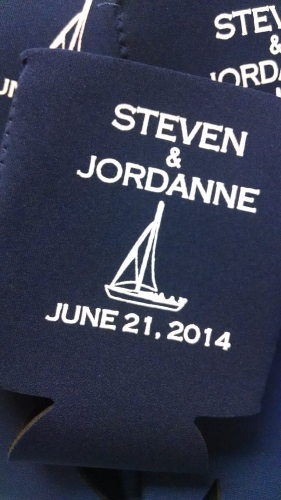 Sailboat, nautical wedding koozie
