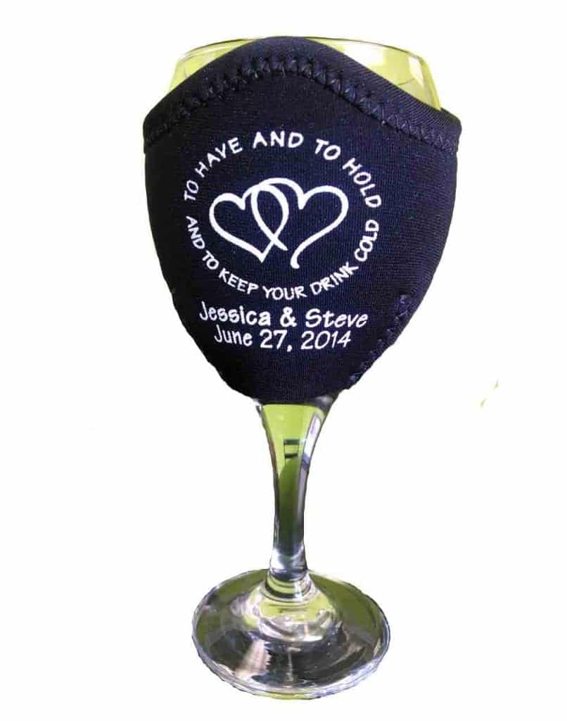Black wine wedding koozie hearts