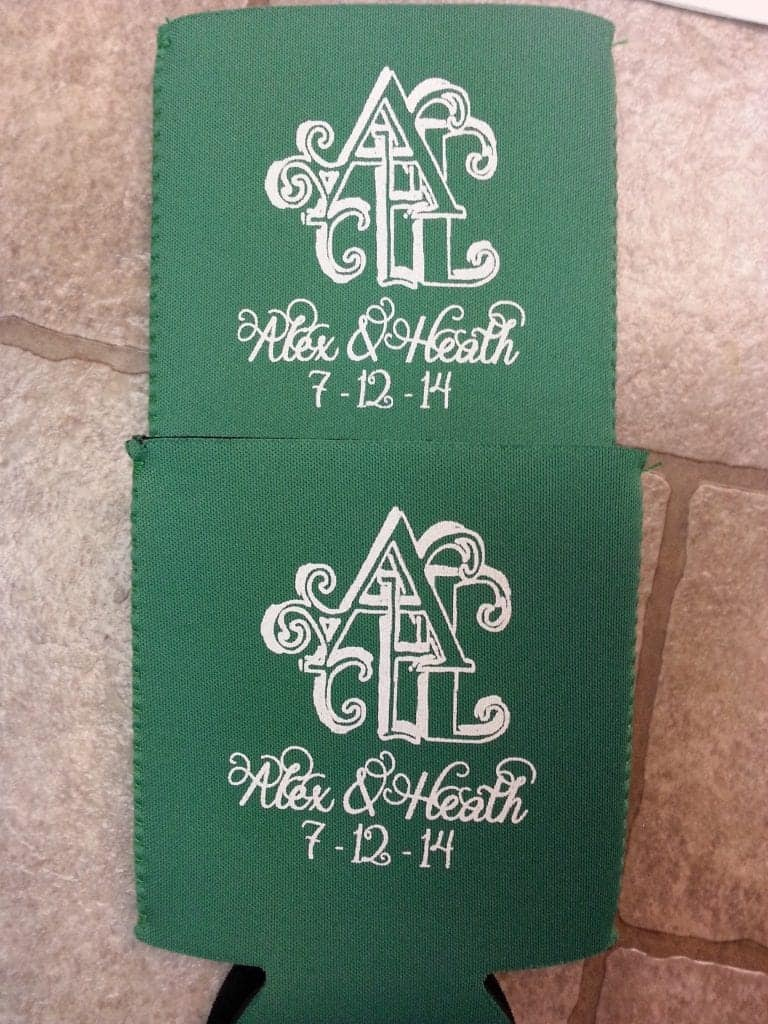 Green neoprene wedding Koozies