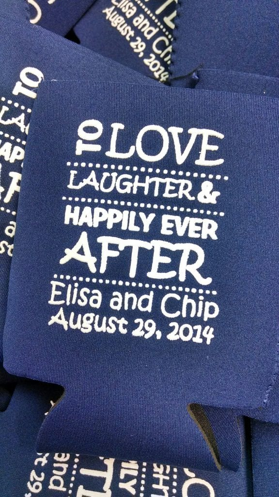 Love, laughter, happily ever after, wedding koozie
