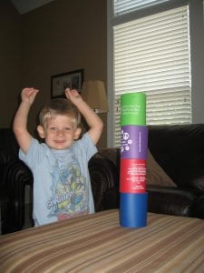 Ben's tower of hard foam coozies