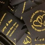Black and yellow wedding koozies