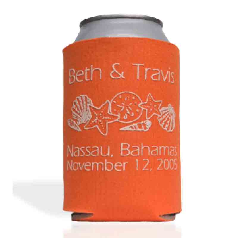 Collapsible bahamas wedding koozie