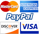 We accept mastercard, american express, paypal, discover and visa