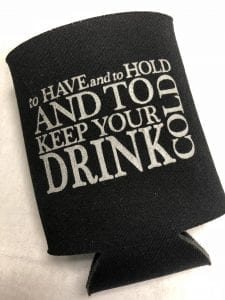 Have and hold black neoprene koozie