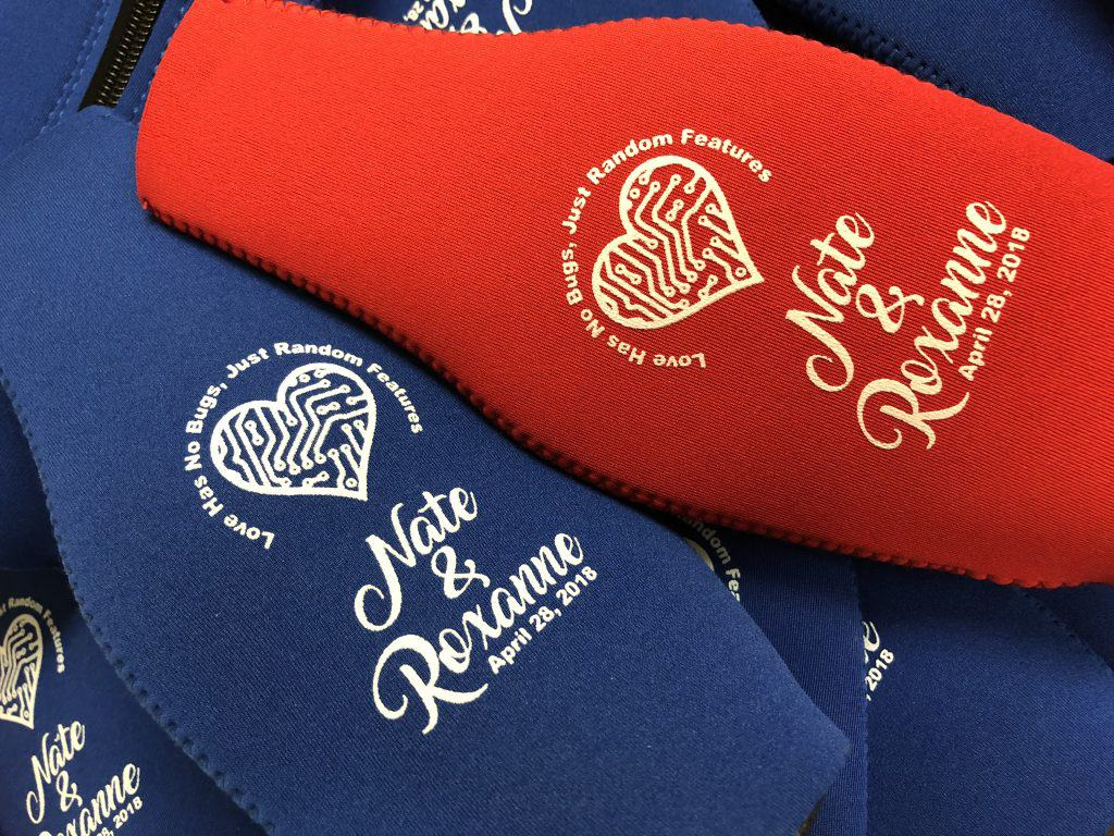 Zipper bottle wedding coozies