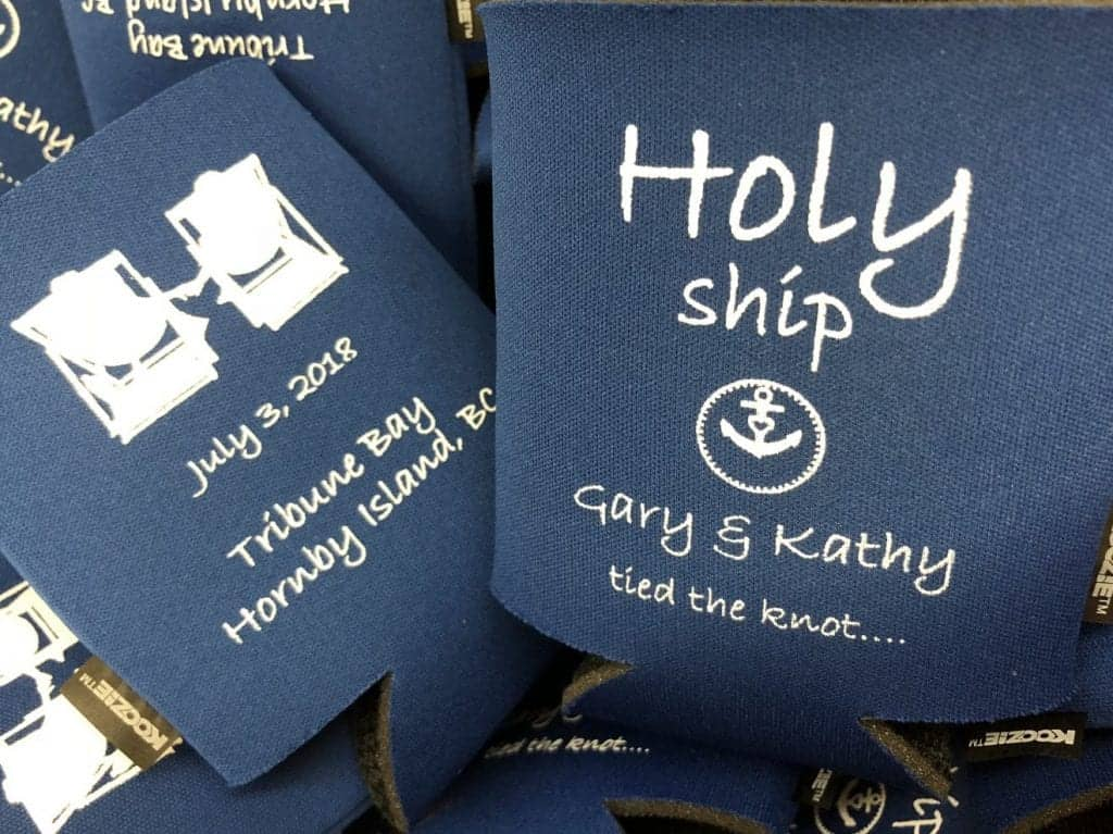 holy ship, beach chairs wedding coozies, nautical