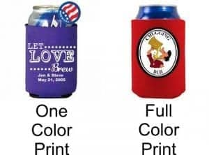 one color koozie versus full color koozie
