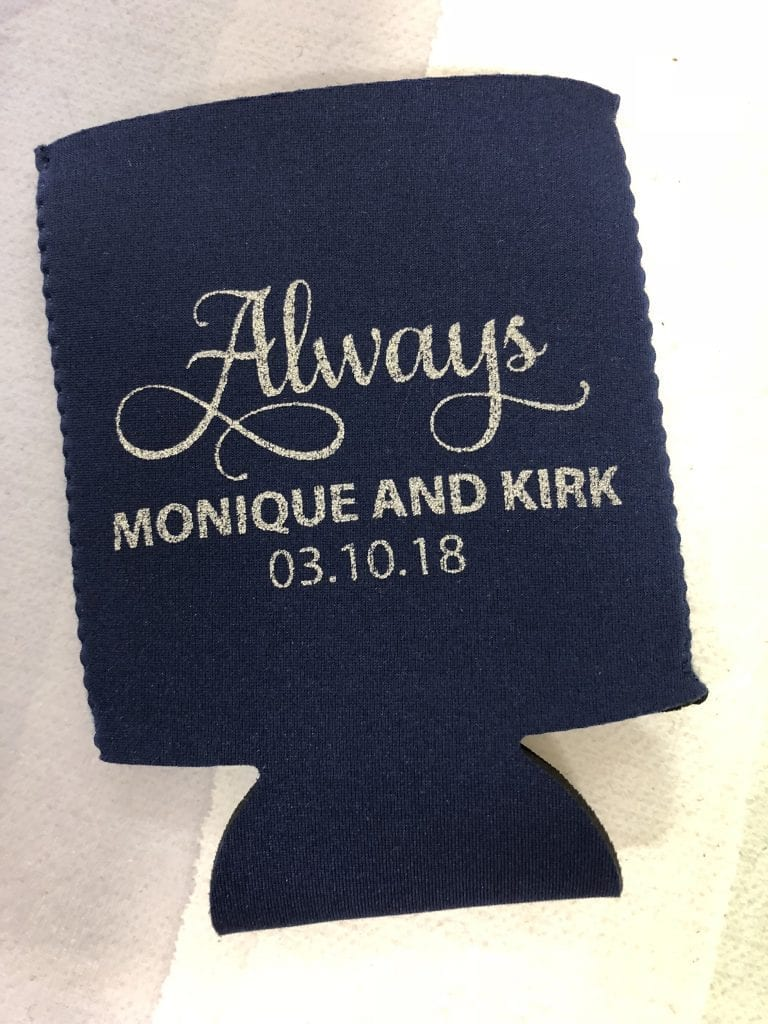 Always black and silver wedding koozie