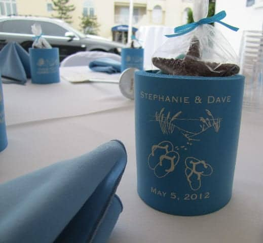 blue flip flops wedding koozie