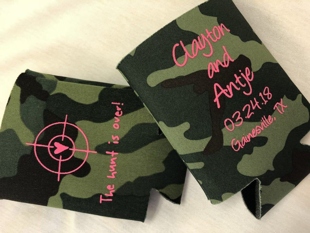 camo and hot pink ink wedding koozie