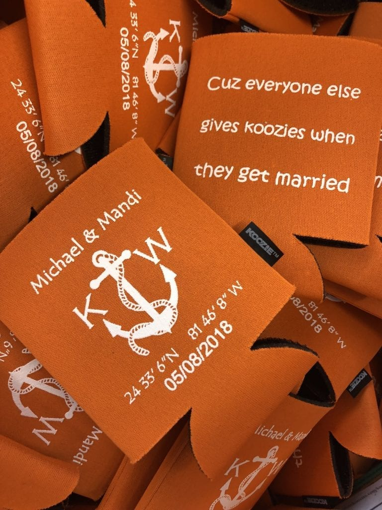 Everyone gives a koozie wedding koozie