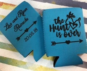 The hunt is over blue wedding coozie