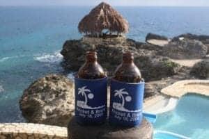 Wedding tropical Jamaica bottle cooler