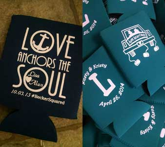 Love anchors the soul, just married koozies