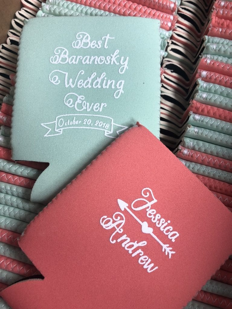 lime and coral koozies