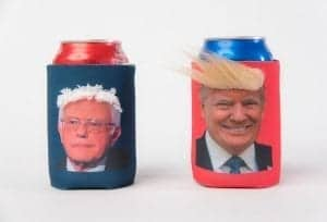 Donald Trump and Bernie Sanders Funny Hair Koozie
