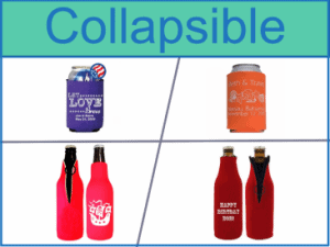 Collapsible Koozies, neoprene, foam, zip up