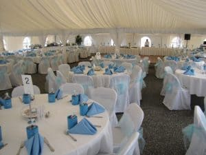 blue and white in tent